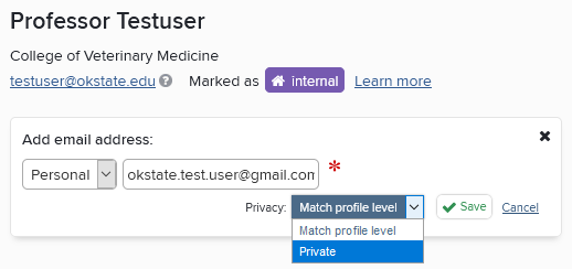 Screenshot of email address privacy