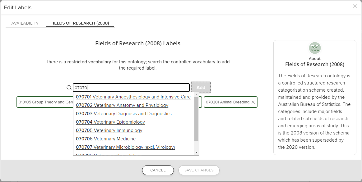 Screenshot of Fields of Research Label entry