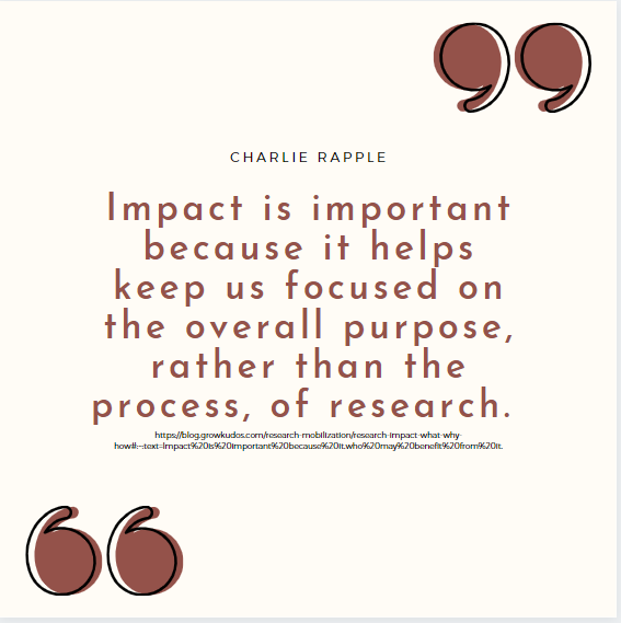 "Quote from Charlie Rapple: ""Impact is important because it helps keep us focused on the overall purpose, rather than the process, of research."""