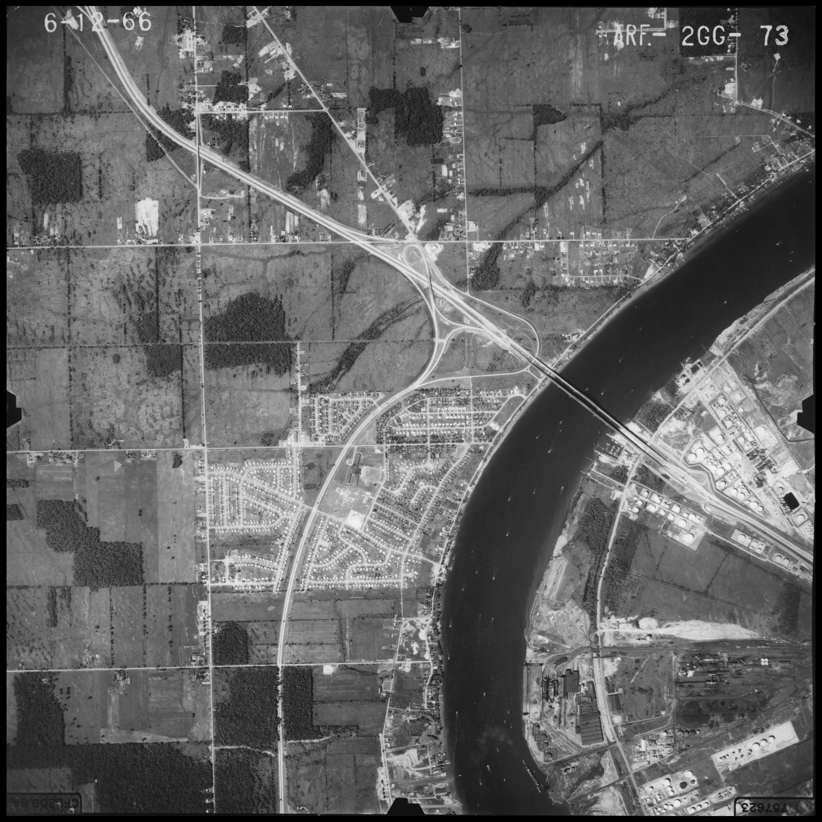 Aerial photo showing south Grand Island Bridges in 1966
