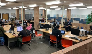 Image of students working in GIAL lab