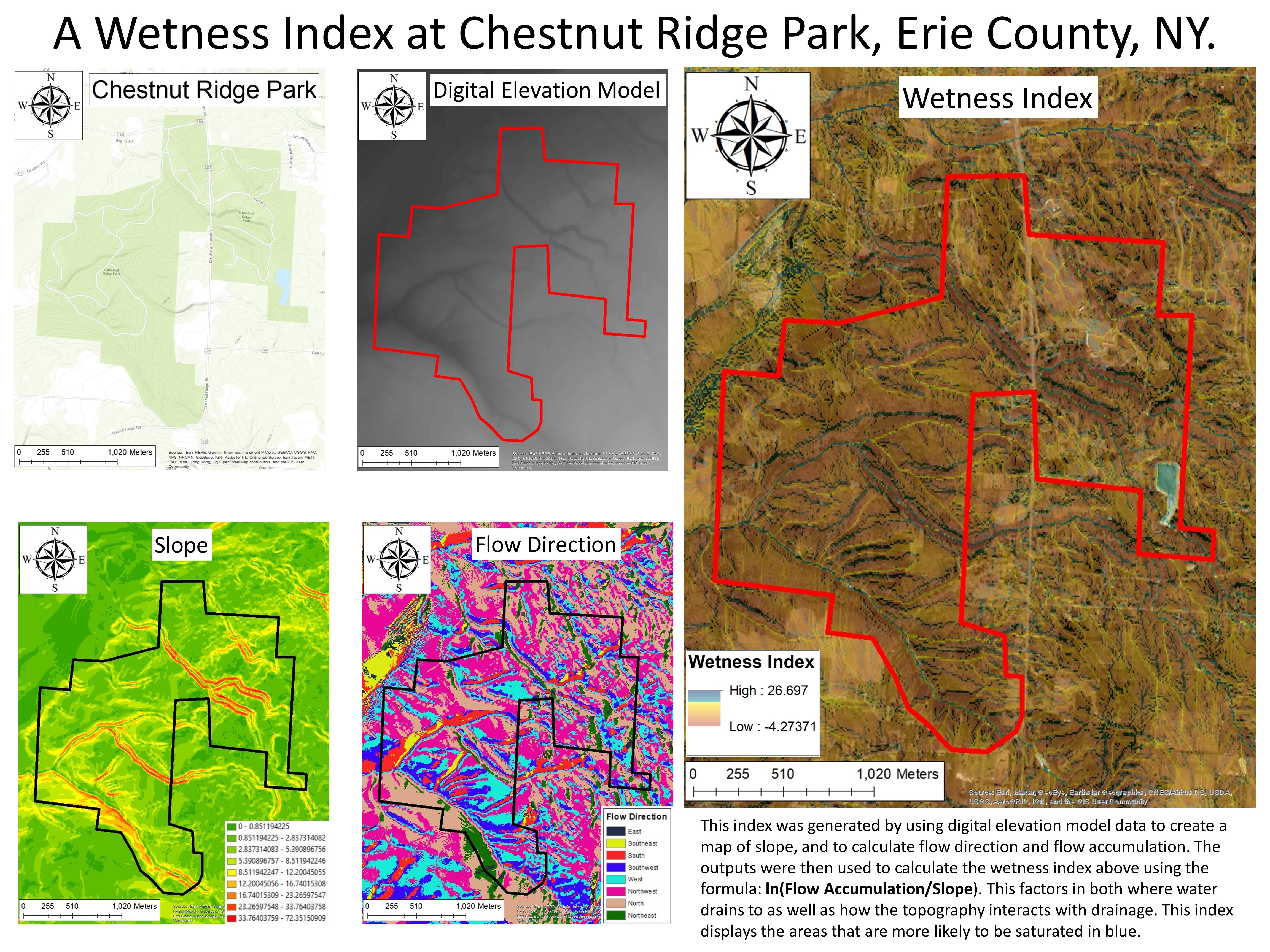3 maps showing chestnut ridge park boundaries and wetness area