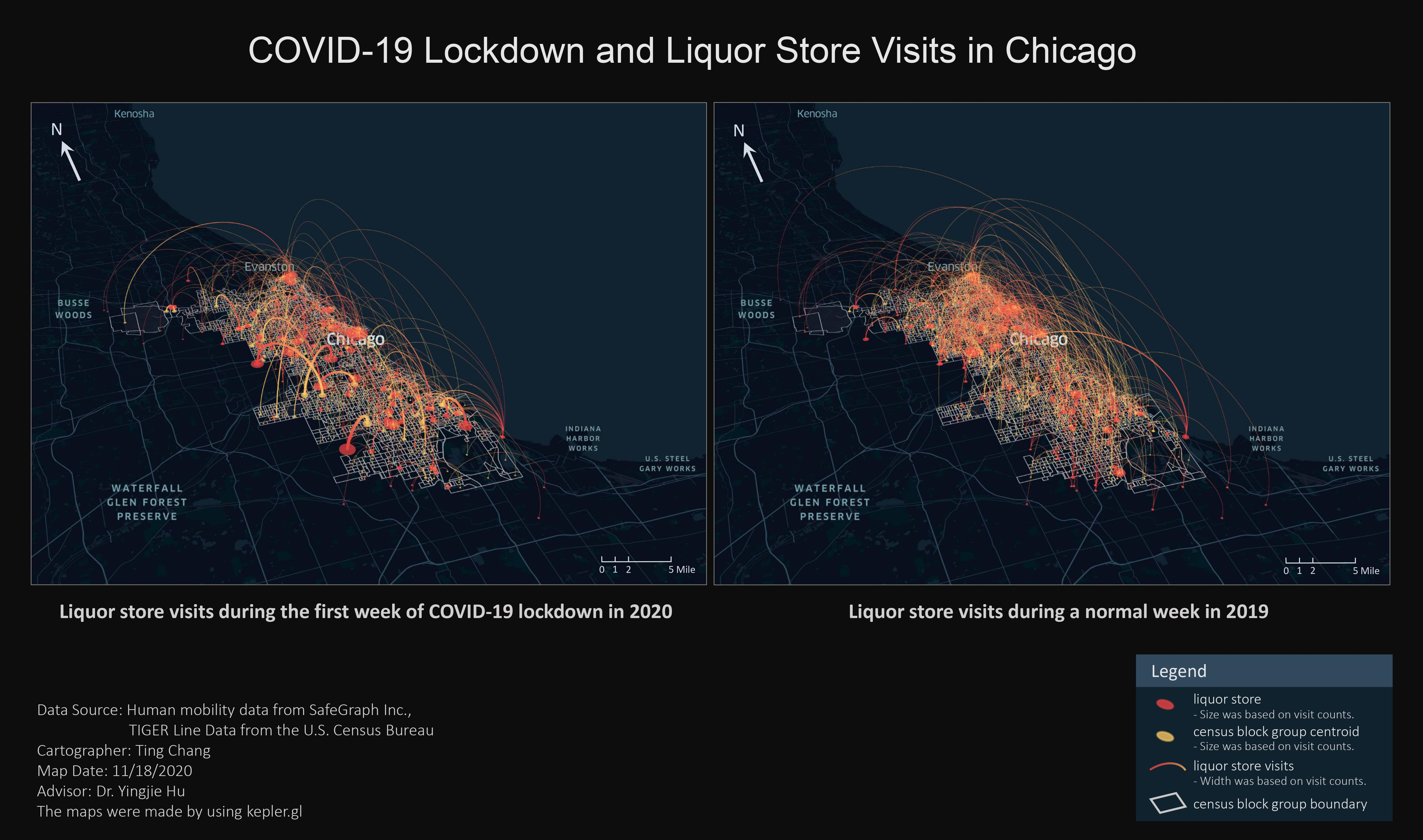 Map showing paths of liquor store trips in Chicago