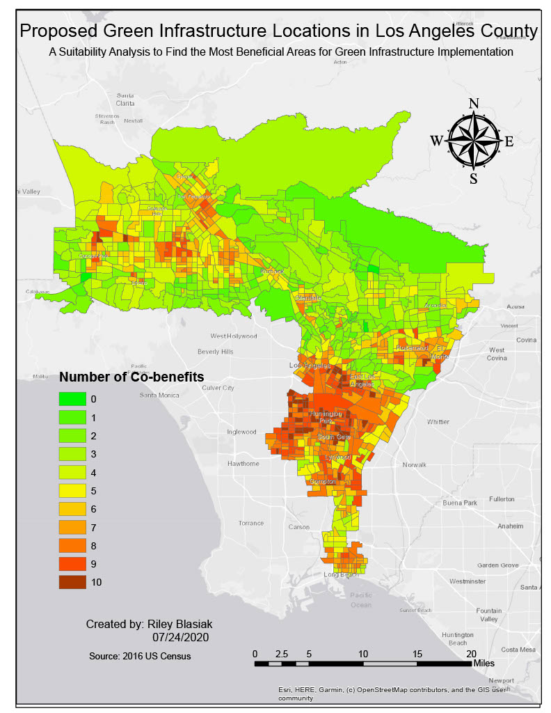choropleth map showing locations in Los Angeles