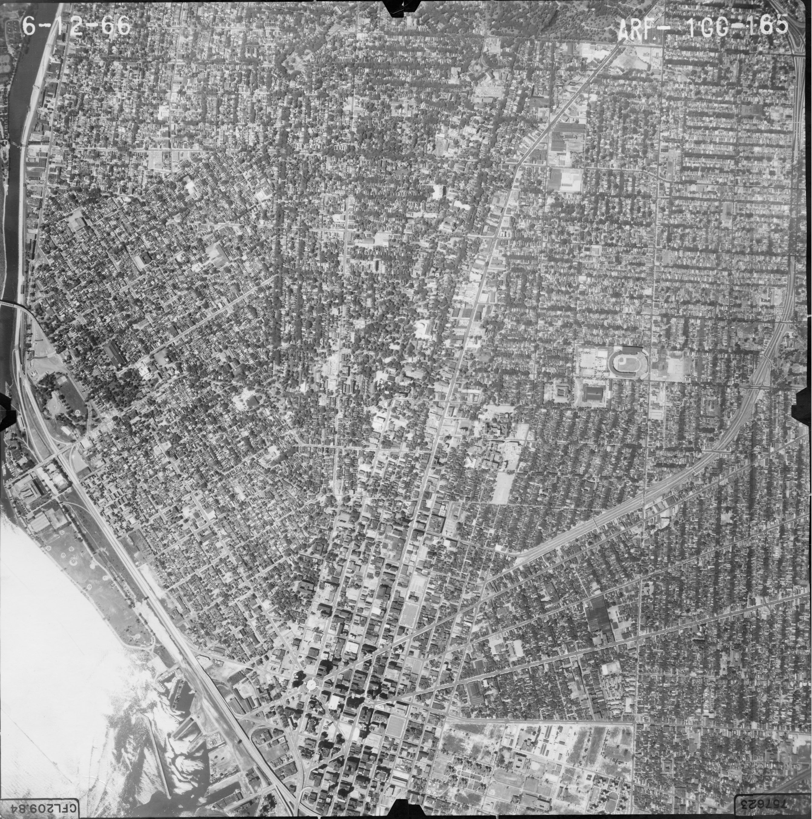 Aerial photo showing Downtown Buffalo in 1966