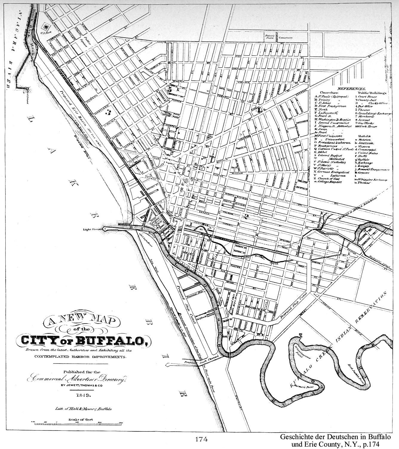Black and white map of City of Buffalo