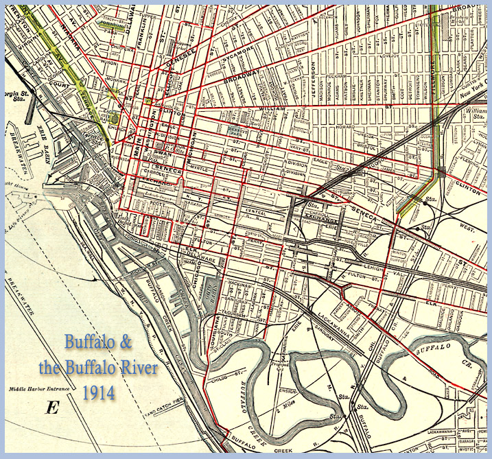 Map of Buffalo streets and river