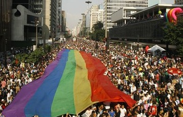 Aerial view of Pride parade