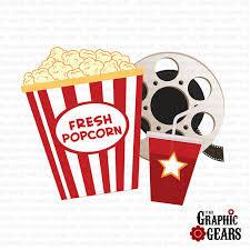 Popcorn, soda, film reel
