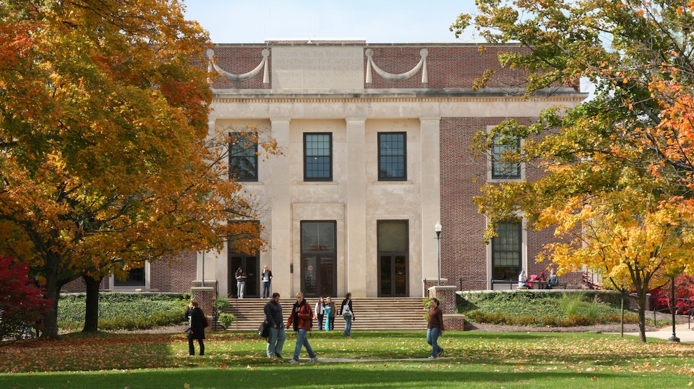 Front of Denison's Doane Library on a clear day