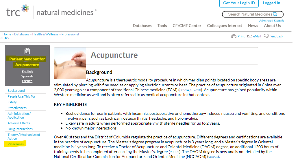 """screenshot of Acupuncture entry in Natural Medicines research database; two sections are highlighted for emphasis: """"Patience handout"""" near the top of the page and """"References"""" in the article's table of contents"""