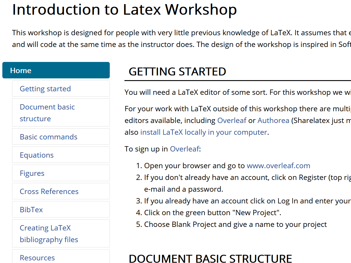 Screenshot of the Introduction to LaTeX Workshop library guide. Click the image to navigate to the guide in a new tab.