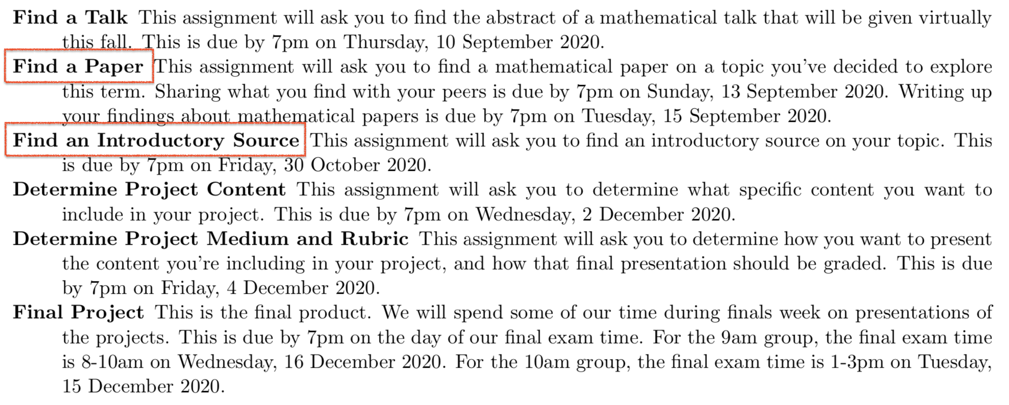 "Screenshot of main assignment for math 301, with ""Find a Paper"" and ""Find an Introductory Source"" called out in red."