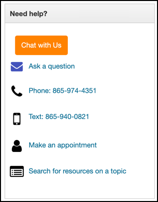 Accessing library contact information from the FAQ page.