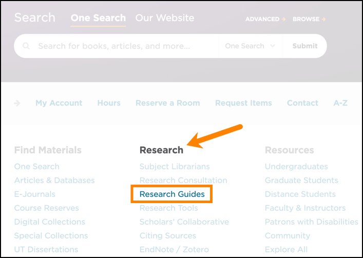 Accessing research guide from library homepage.