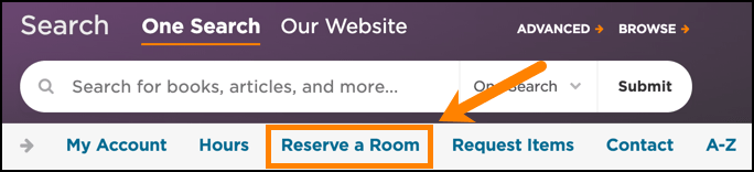 Reserving a room in the library from the homepage.