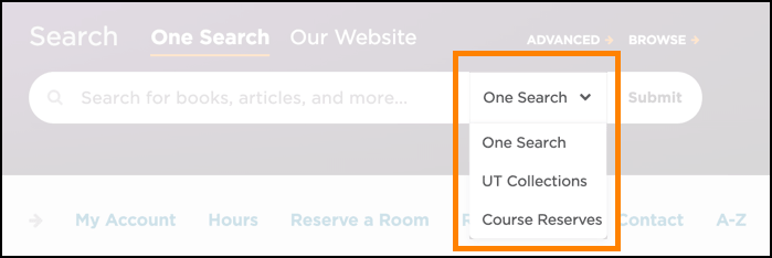 Search options - One Search, UT Collections, Course Reserves.