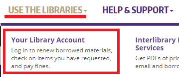 Your Library Account link under Use The Libraries