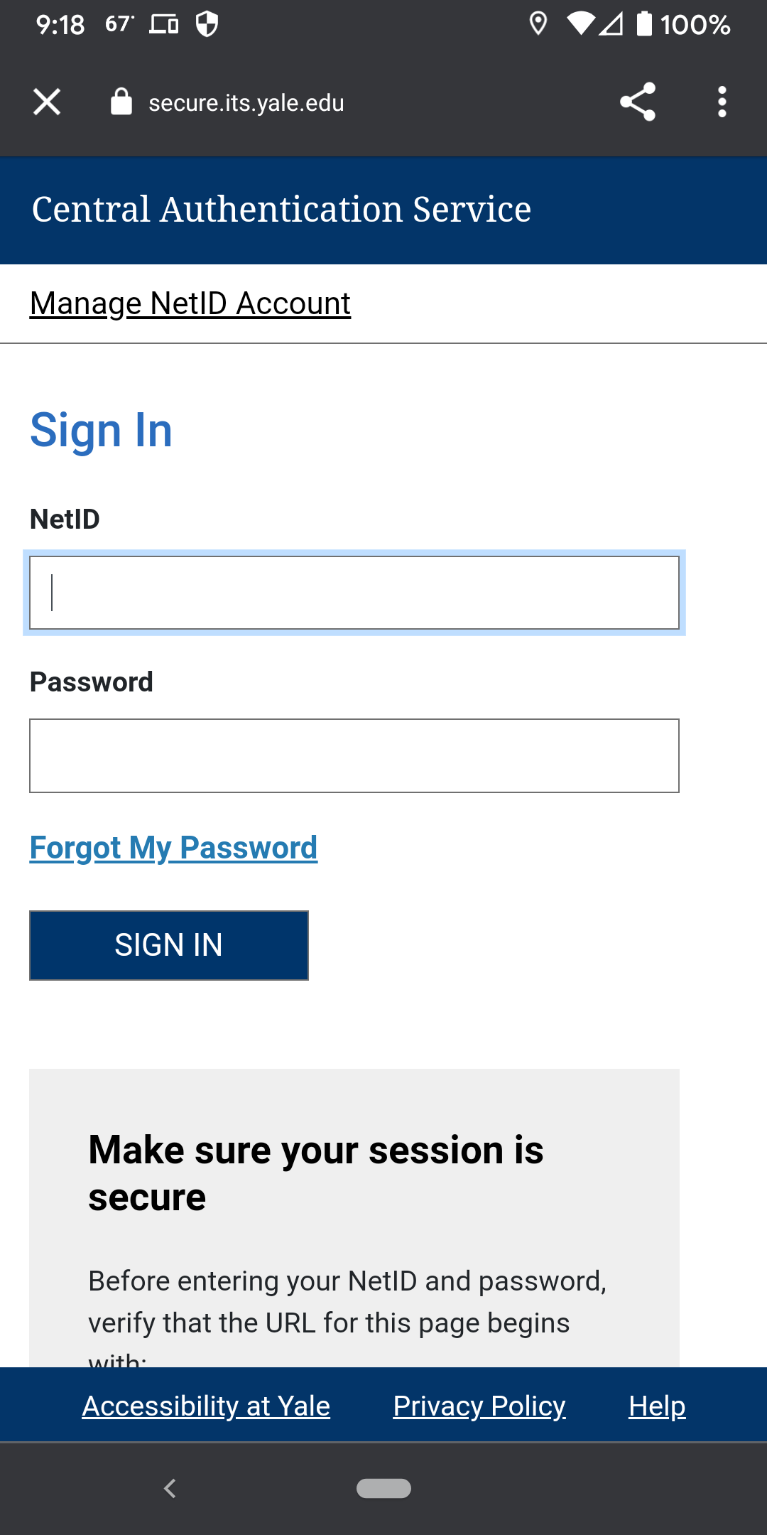 Yale CAS authentication screen