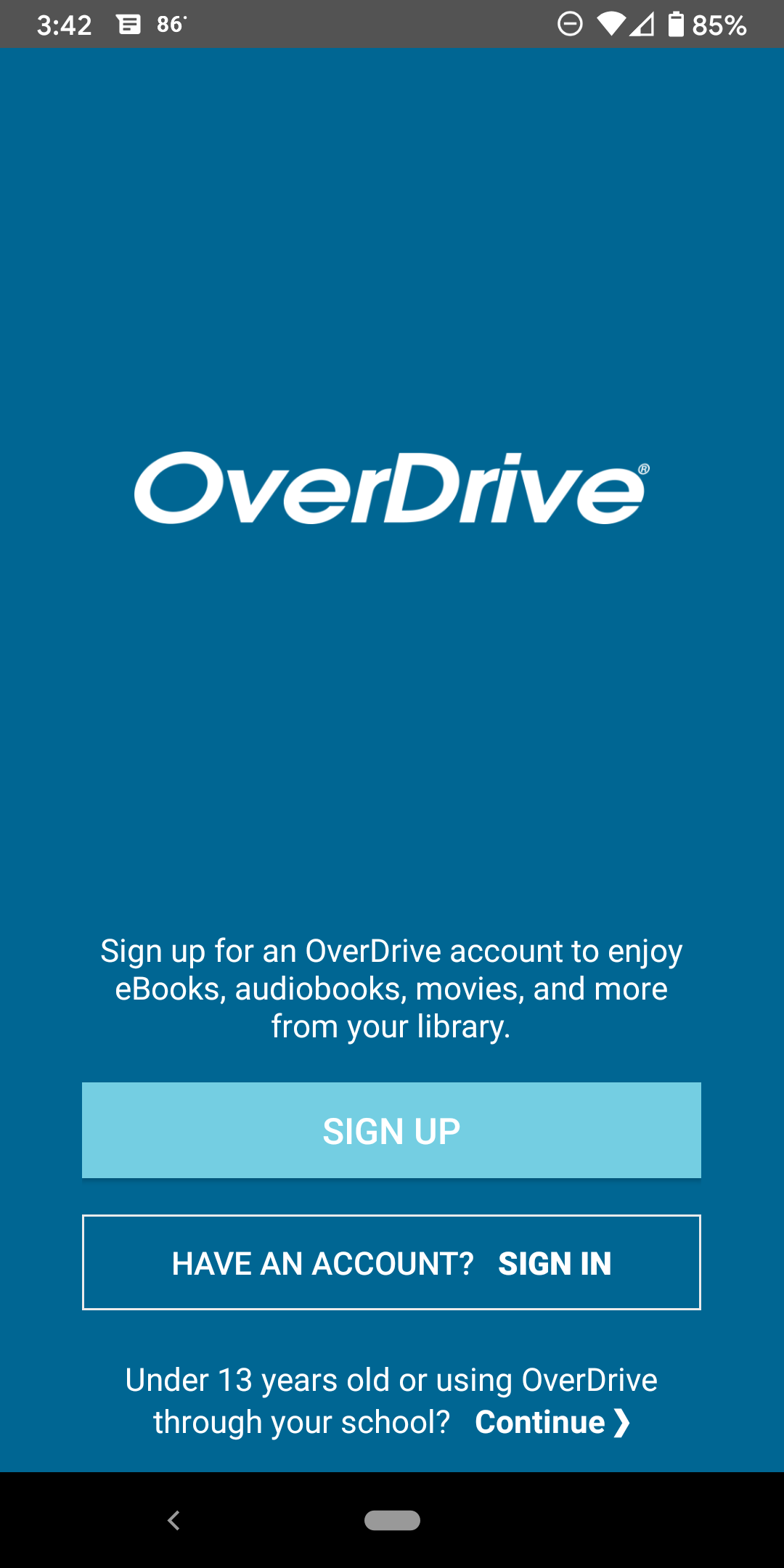 Overdrive Android login