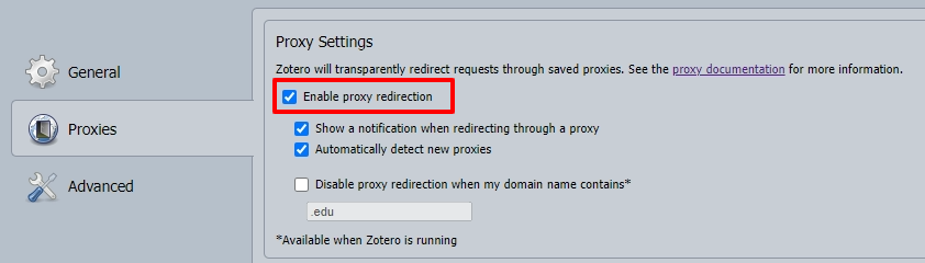 Zotero Connector options proxies tab