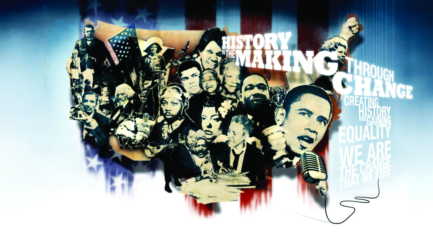 "Mural-style image of Black leaders and activists throughout American history with a silhouette of the US and the American flag behind them; white text on blue background reads: ""history making throgh change"""