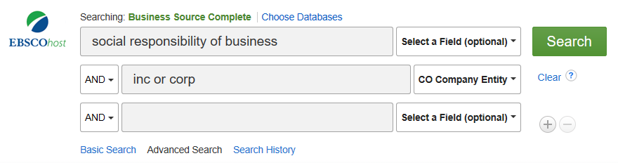 top portion of business source complete search