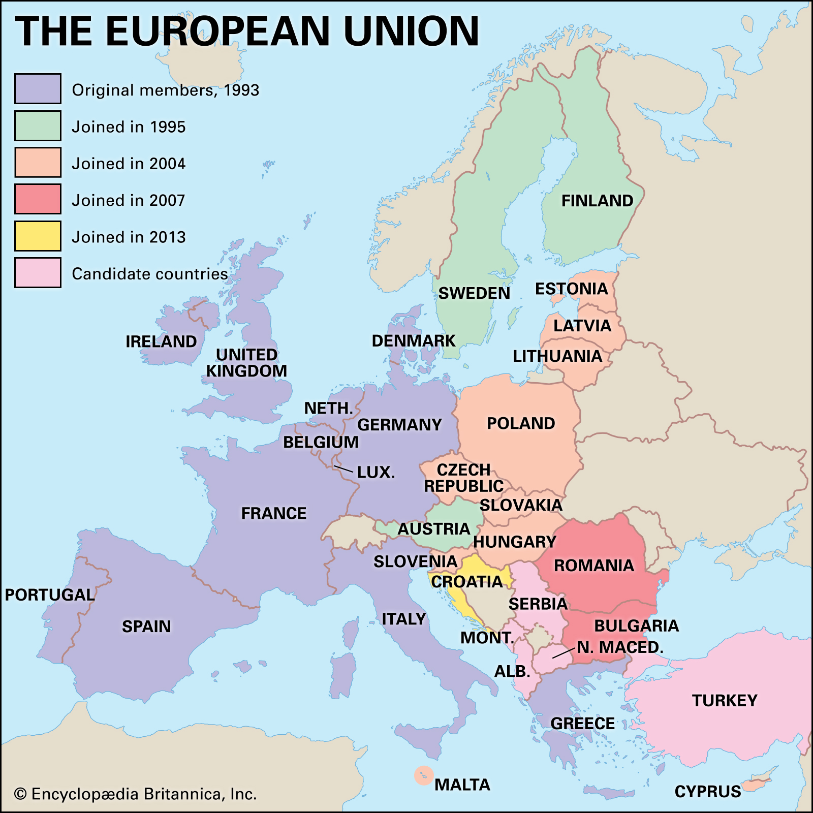 Map of EU countries