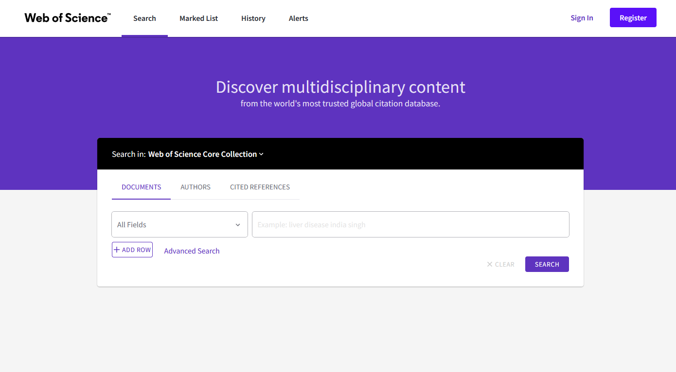 Image of Web of Science interface. Purple and white background with white search box in the center