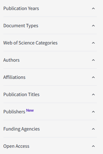 List that says Publication Years, Document Types, Web of Science Categories, Authors, Affiliations, Publication Titles, Publishers,  Funding Agencies, and Open Access