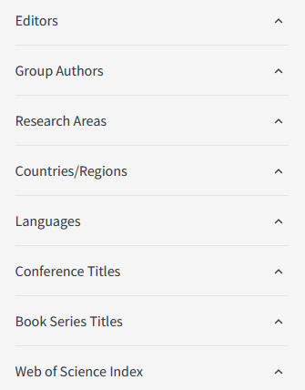 List that says Editors, Group Authors, Research Areas, Countries/Regions, Languages, Conference Titles, Book Series Titles, and Web of Science Index