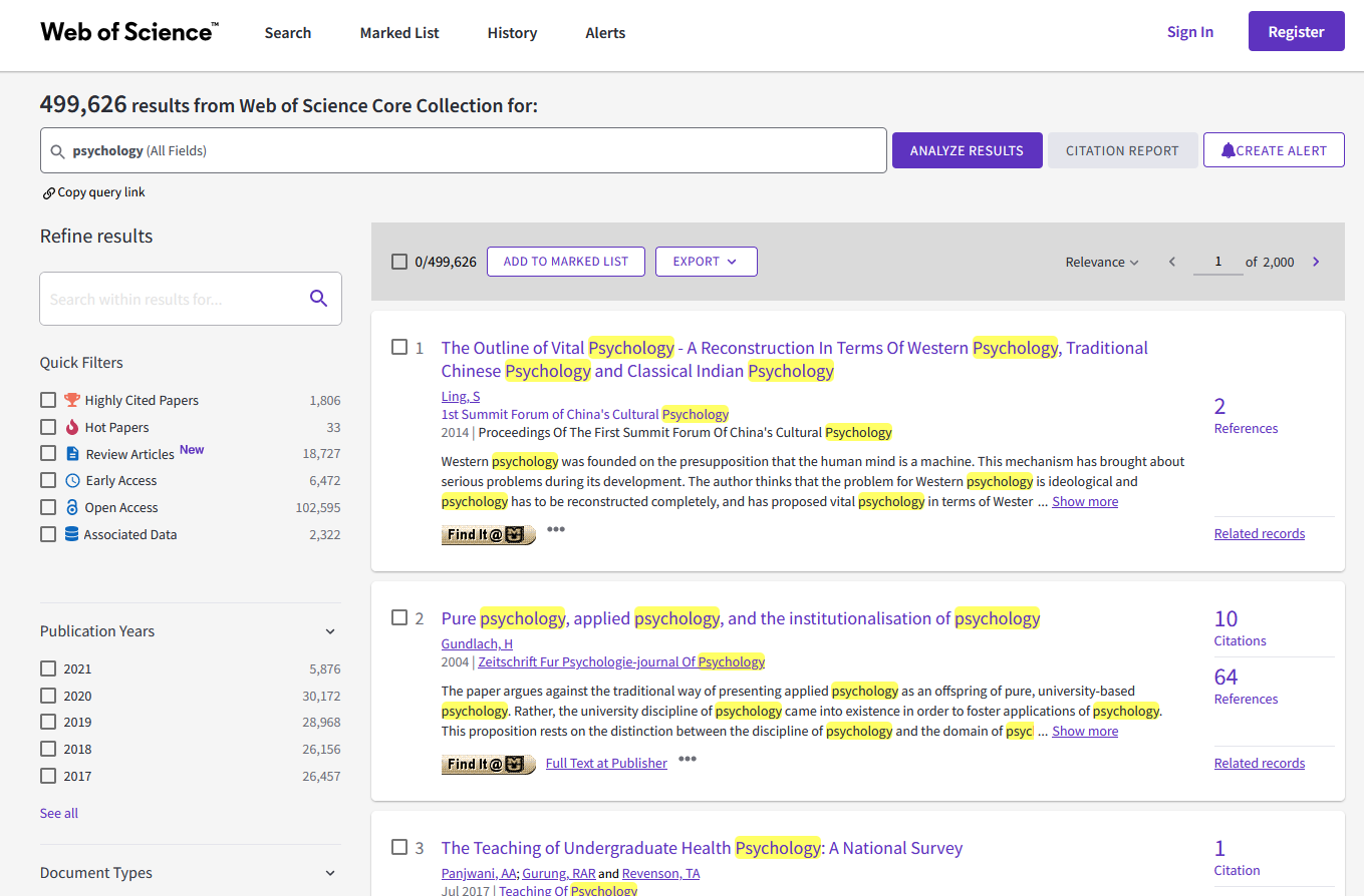 Search results page from Web of Science. There are search filters on the left and citation results on the right.