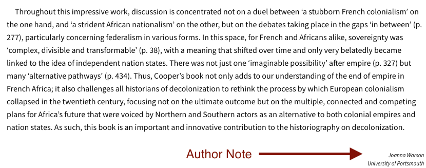 Final paragraph of Cooper review with author statement.