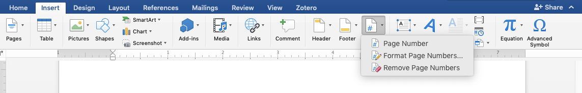 screen shot of Word Insert ribbon