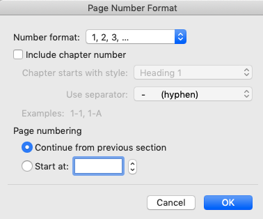 """screenshot of Microsoft Word """"Page Number Format"""" box"""