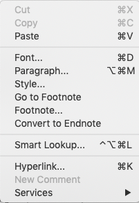 screenshot of right click on footnote