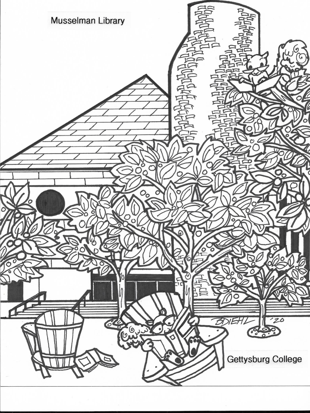 Hand-drawn image of squirrels outside of Musselman Library