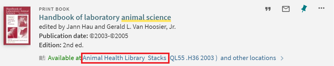 """Handbook of laboratory animal science"" catalog information highlighting its location at Animal Health Library Stacks"