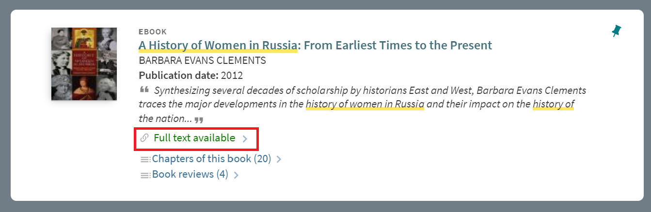 """""""A History of Women in Russia From Earliest Times to the Present"""" catalog information highlighting """"Full text available"""" link in the middle of catalog information."""