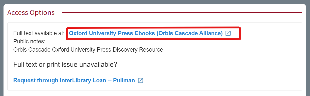 Access Options section to show highlighted link to access the full text of an eBook