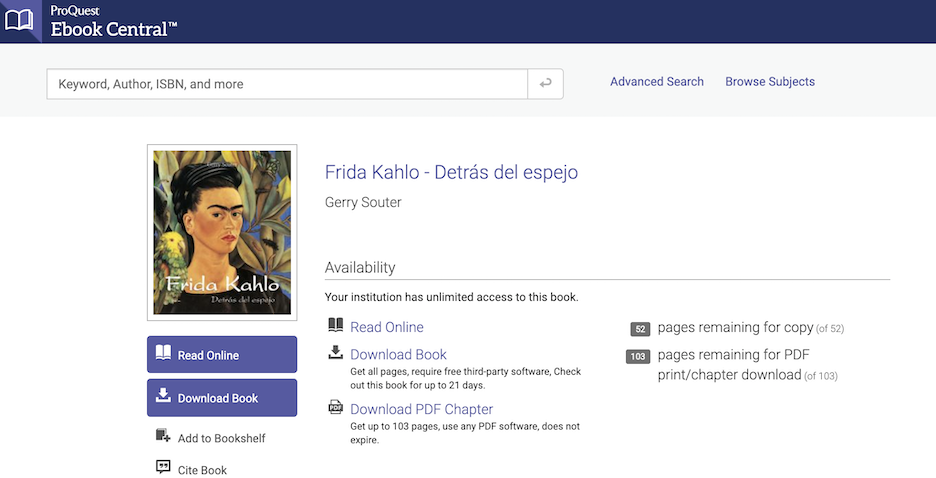 Screenshot of the home page of the Frida Kahlo e-book.