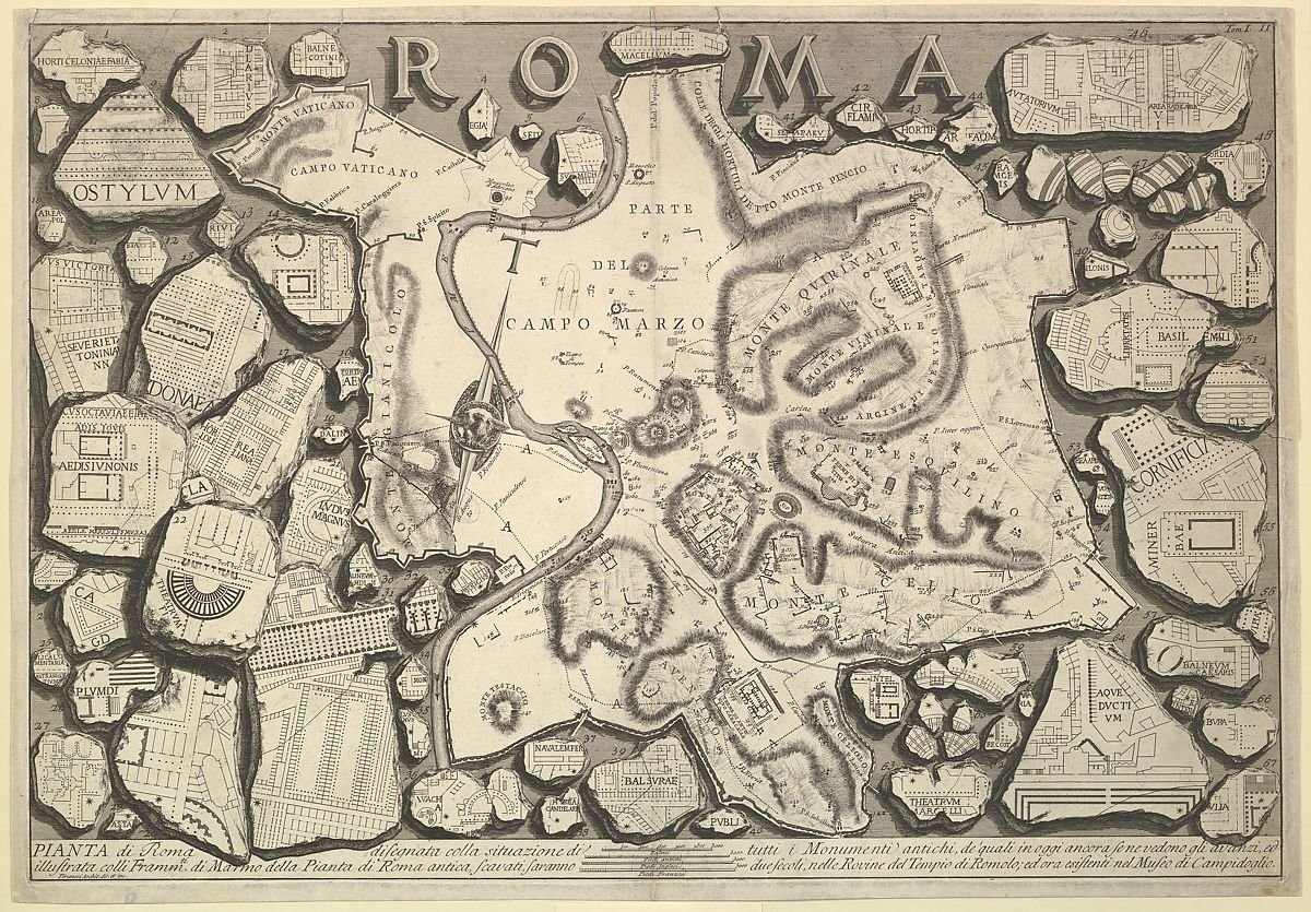 "Etching on paper. At the top the word ""ROMA"" is shown. The etching is a drawing of pieces of a different stone map of Rome, with the Tiber river in the middle, and random other building plan scattered around."