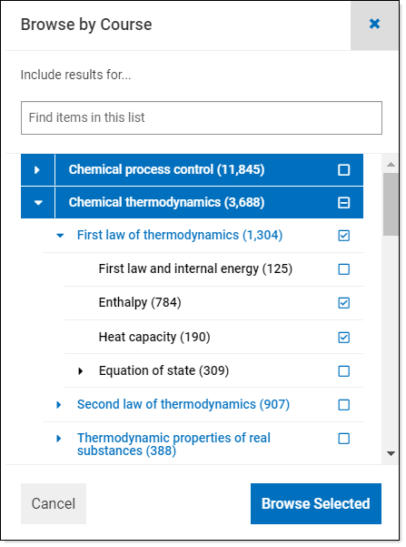 Browse by course box showing example Chemical Thermodynamics course
