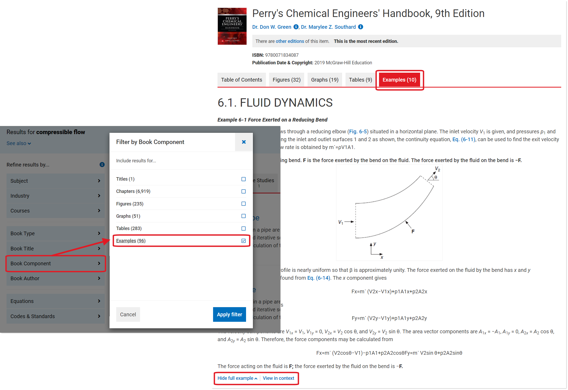 Shows Filter by Book Component option with Examples filter highlighted, and Examples tab within book chapter with view in context link highlighted