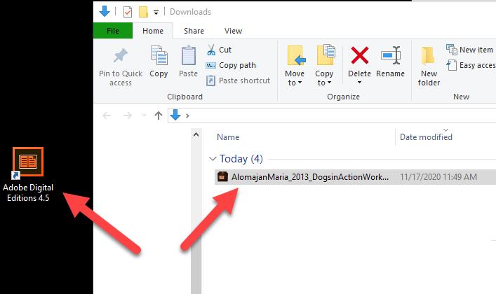 drag ebook file to adobe digital solutions desktop icon