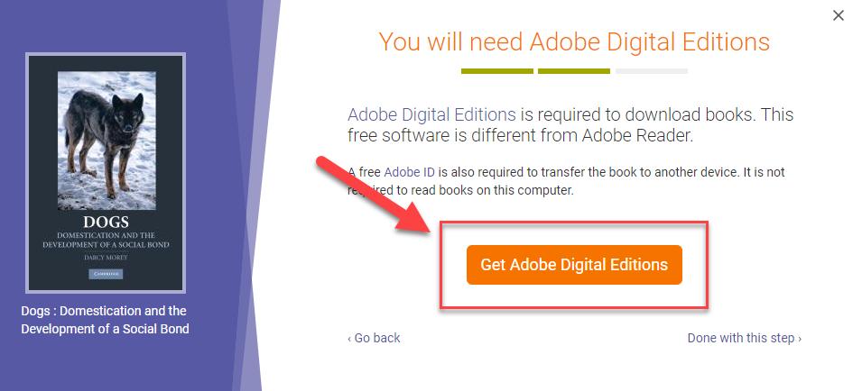 Install Adobe Digital Editions.