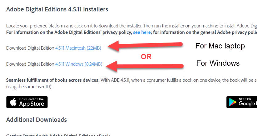 Select the download link for Mac or for Windows, depending on the type of device you are using.