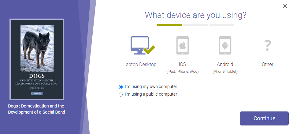 Select you device and whether or not you're downloading to your personal device.