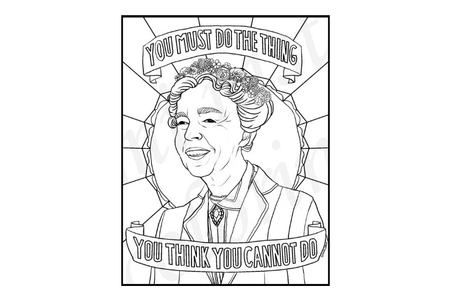 Coloring Page of Eleanor Roosevekt