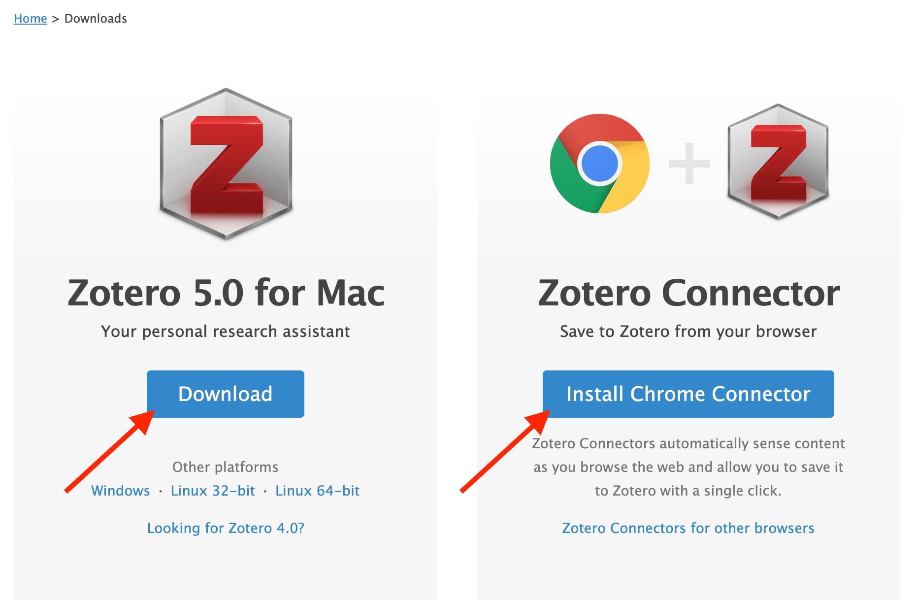 Zotero download visual screenshot